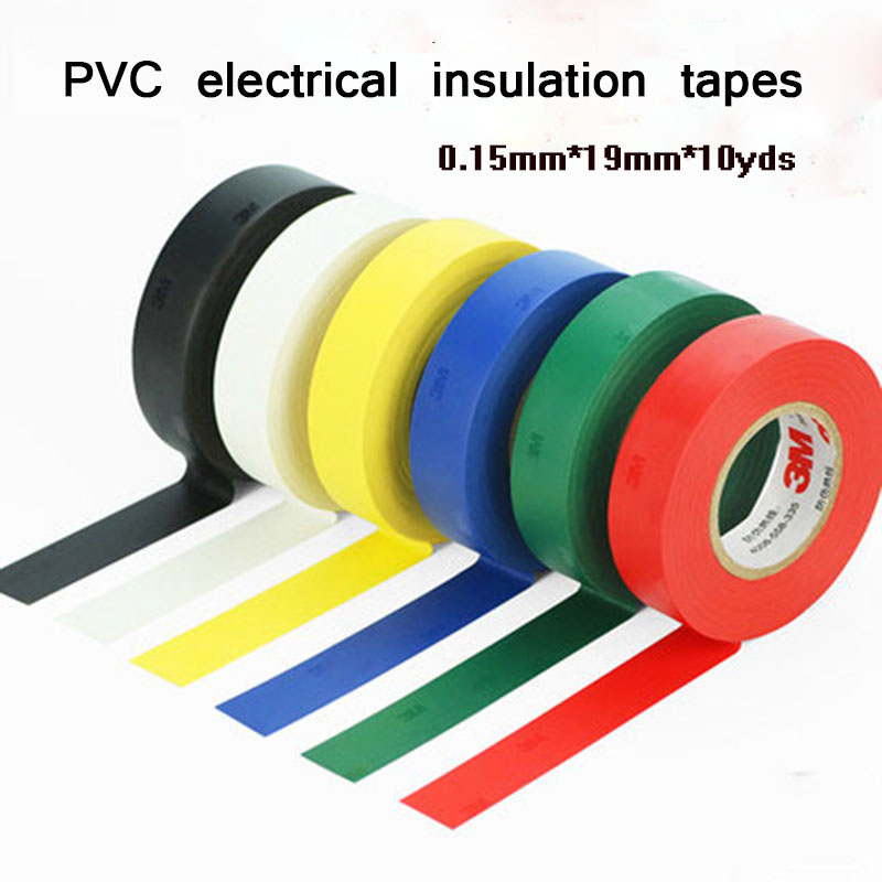 Free shipping 19mm 10yards 0.15mm PVC Electrical tape insulation tapes Heat Resistant Electrical waterproof Power tapes 1piece