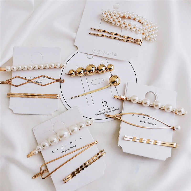 Modyle Woman Elegant Geometric Pearl Hairpins Korean Style Hair Clips Alloy Barrettes Girls Hair Accessories Hair Grips Headwear
