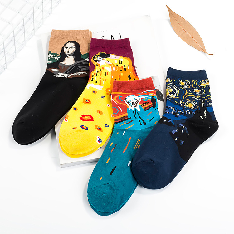 Spring Summer Fashion Retro Women New Personality Art Van Gogh Mural World Famous Oil Painting Series   Socks   Female Funny   Socks