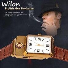 Men watch Quartz Watch with Cigarette Lighter Watch Red light Electronic Flameless Windproof Cigarette Lighter male clock F777
