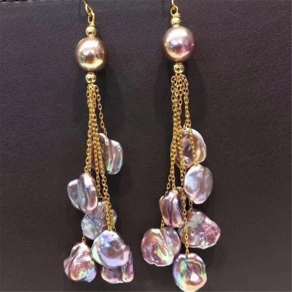 hand made fine jewelry factory wholesale fashionable 14k gold wrap natural pink pearl gemstone tassel pendant earring 1
