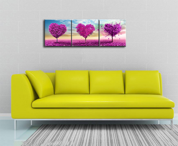 3 Pcs Wall Art Canvas Painting Heart Trees Beautiful Wall Pictures ...