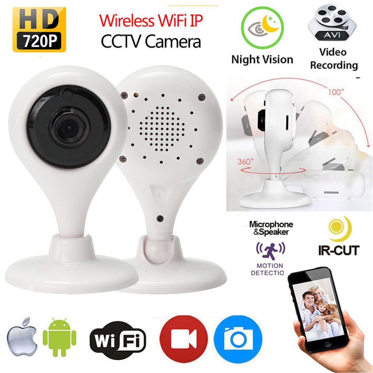 HD 720P Smart Wireless Remote WIFI IP CCTV Camera Outdoor Security Network Night Vision Surveillance Camera Baby Montors camera security home hd wireless network smart phone remote wifi night vision security monitoring