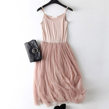 Sexy Spaghetti Strap Patchwork Mesh Dress Spring Summer Women Gauze Lace Tank Casual Dresses Sundress Party Vestidos LQ0009 1