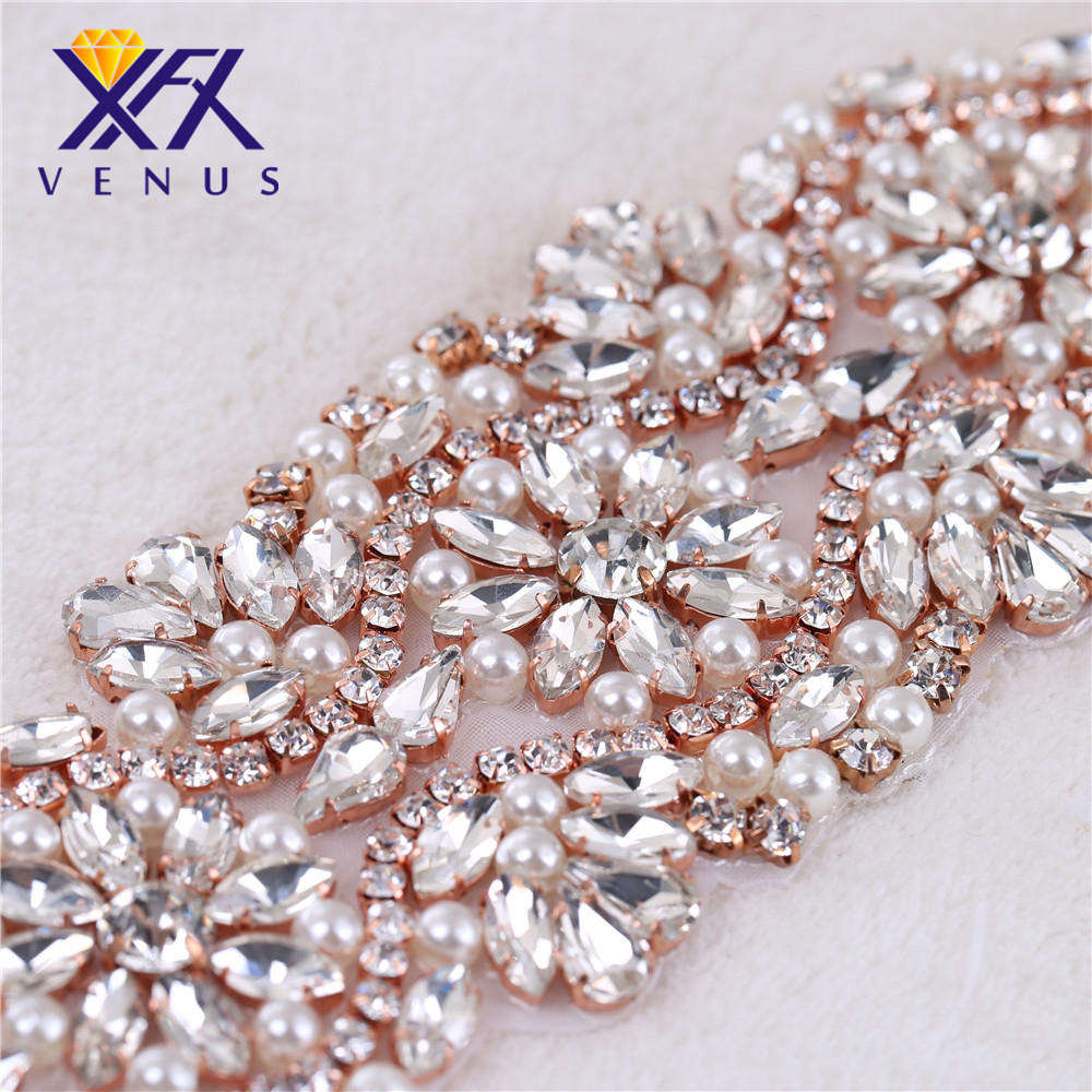 XINFANGXIU Handmade ivory pearls rose gold strass crystal rhinestone  applique patch hot fix for wedding dresses bride sash belt-in Rhinestones  from Home ... cf96546cd003