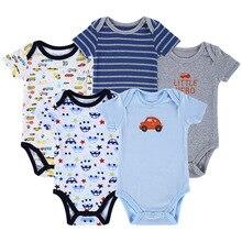 5pcs/set , 100% 0-12M   Summer time Child Clothes Set 100%Cotton Toddler Jumpsuit Quick Sleeve Boy Woman Romper