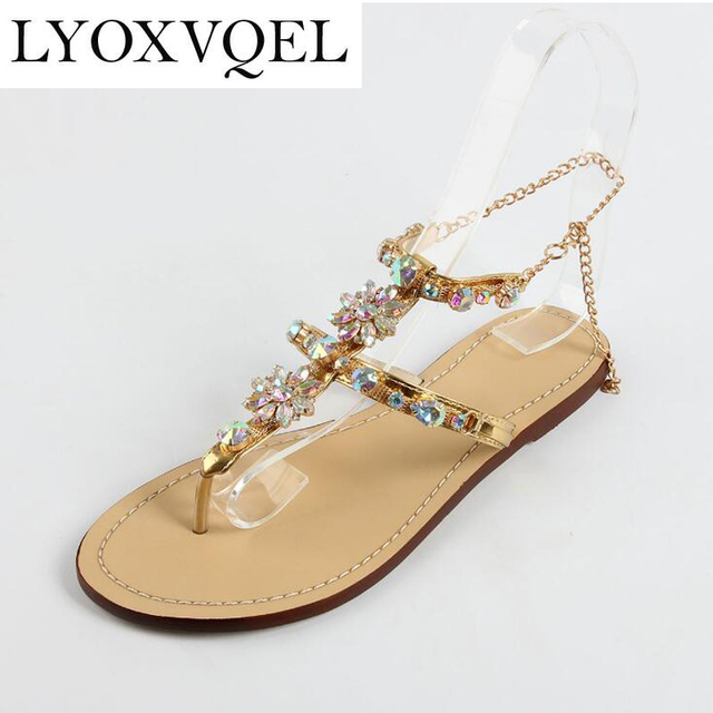2018 shoes woman sandals Rhinestones Chains Flat Sandals plus size Thong Flat  sandals gladiator sandals chaussure femme C249 09297297fe7e