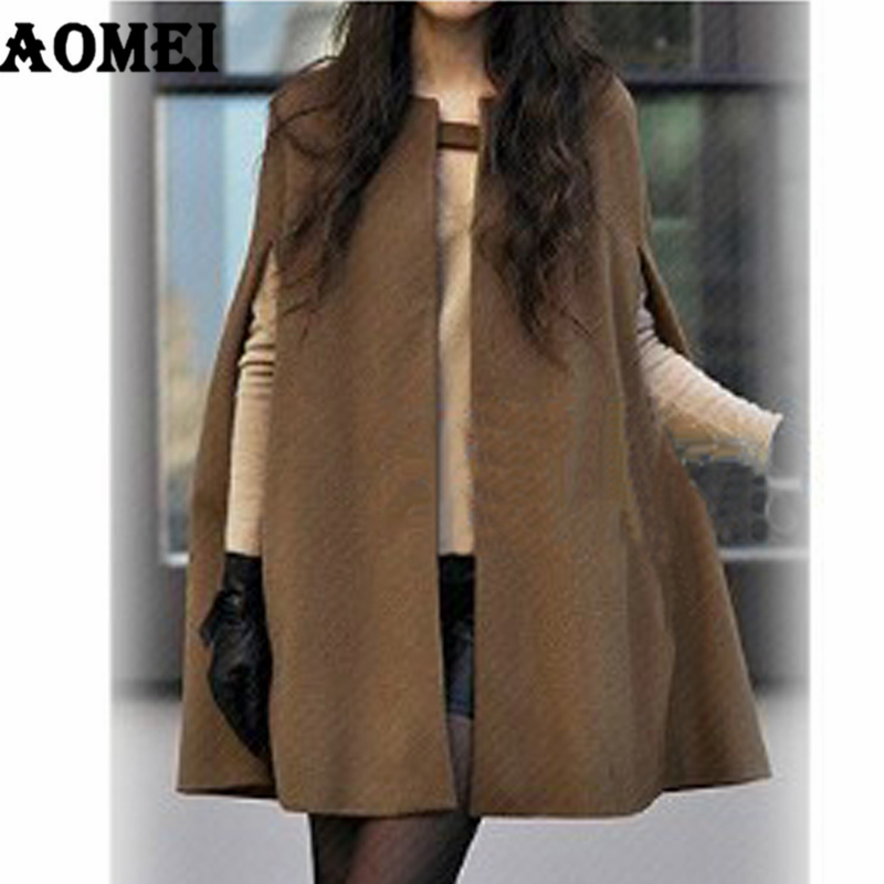 Европейское модное осенне-зимнее пальто, женское красивое пальто с накидкой, Однотонное шерстяное пончо, Женская свободная теплая верхняя одежда, кашемировое пальто