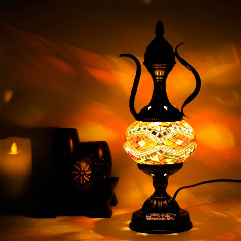 2017 Newest Mediterranean style Art Deco Turkish Mosaic Table Lamp Handcrafted mosaic Glass romantic bed light silikomart eggset 2d