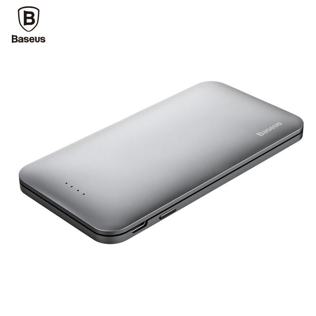 Baseus 5000mAh Power Bank Dual USB Input fast Charge Portable External Battery Charging For iphone 7 samsung S8 huawei xiaomi