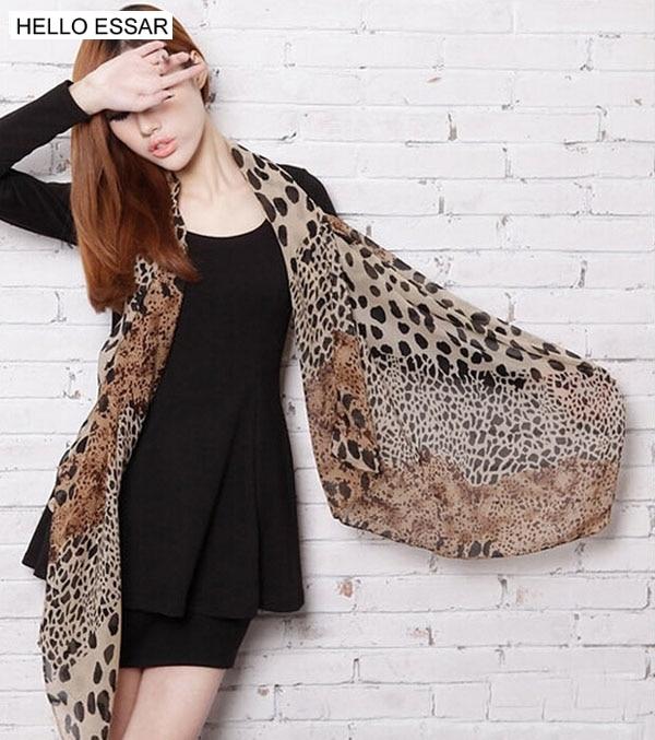 Neue mode Druck Katze Sterne Leopard Chiffon Schal 150x38cm Frauen Schals Tücher Und Schals Party geschenk