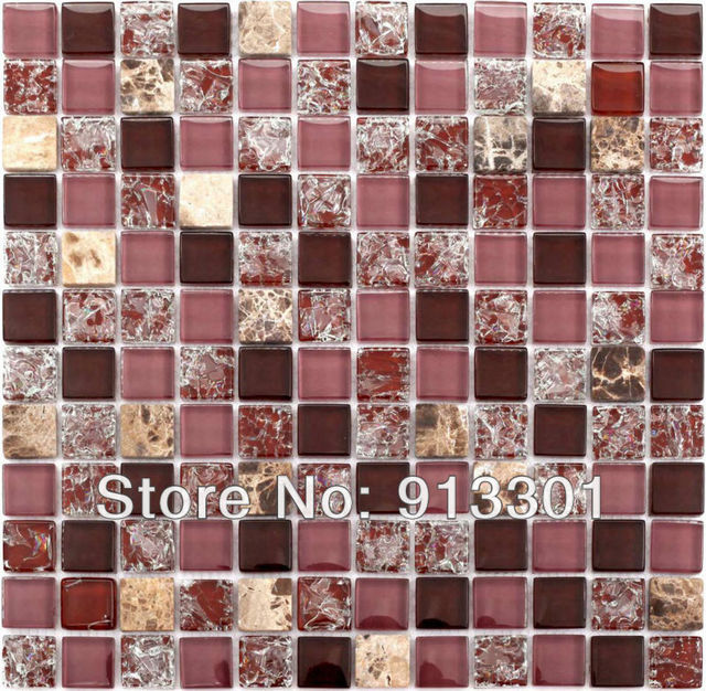 glass mosaic tile backsplash pattern brown stone crystal random blend discount glass tiles floor bathroom wall