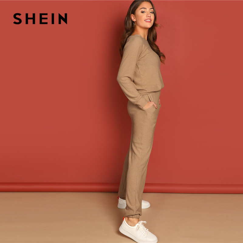 Image 2 - SHEIN Apricot Round Neck Solid Pullover and Slant Pocket Plain  Pants Set 2019 Spring Women Minimalist Streetwear TwopieceWomens Sets