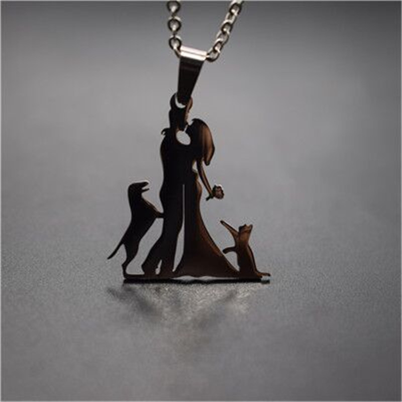 New Family Necklace Stainless Steel Lovers Couple Pendant Necklace Master with <font><b>Cat</b></font> <font><b>and</b></font> <font><b>Dog</b></font> Necklace Figure <font><b>Jewellery</b></font> image