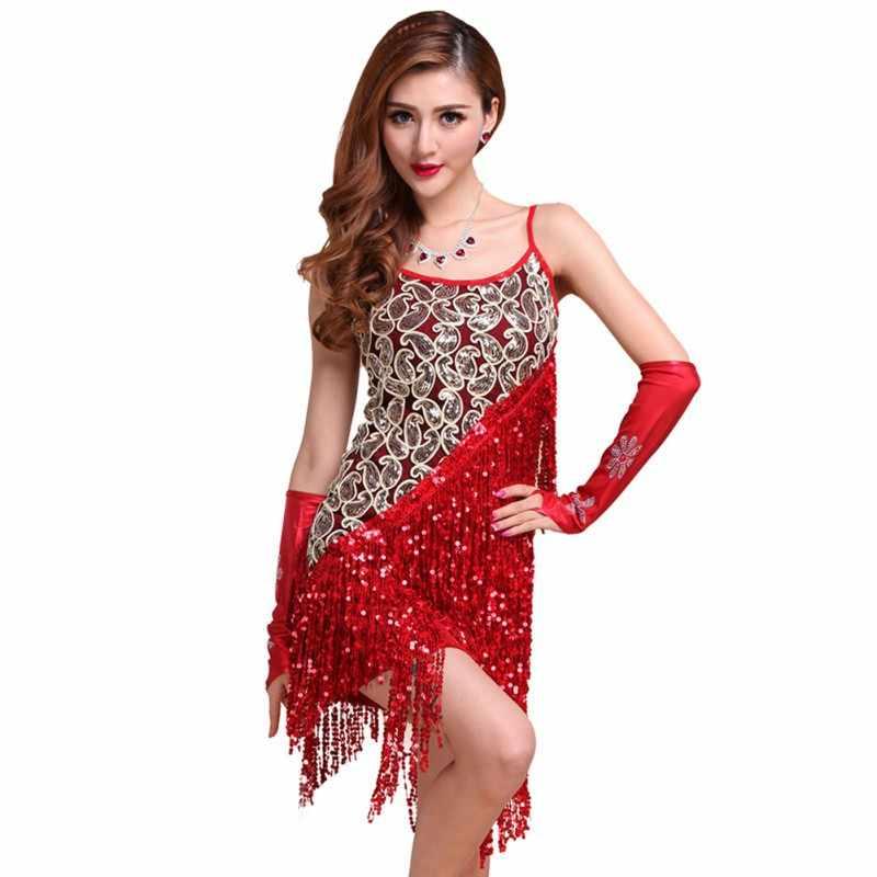 7e4de1763 Vestidos Sexy Vestidos de fiesta sólidos vestido de talla grande mujeres  lentejuelas flecos borla falda señoras Latino Tango baile Salsa baile