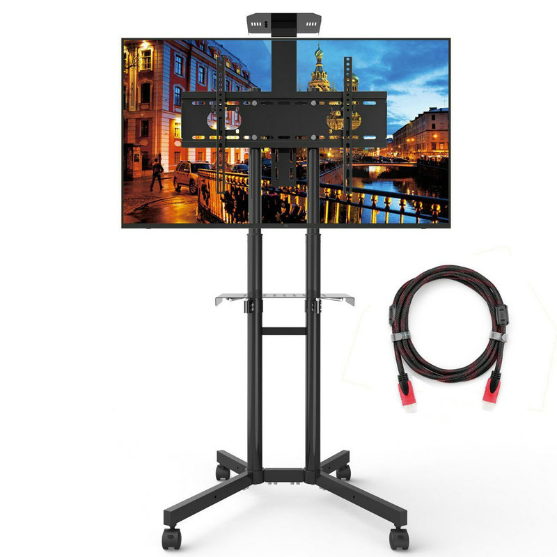 Universal TV Cart For LCD LED Plasma Flat Panel Stand Mount With Mobile And Adjustble Shelf And Curved Displays For 32 to 65