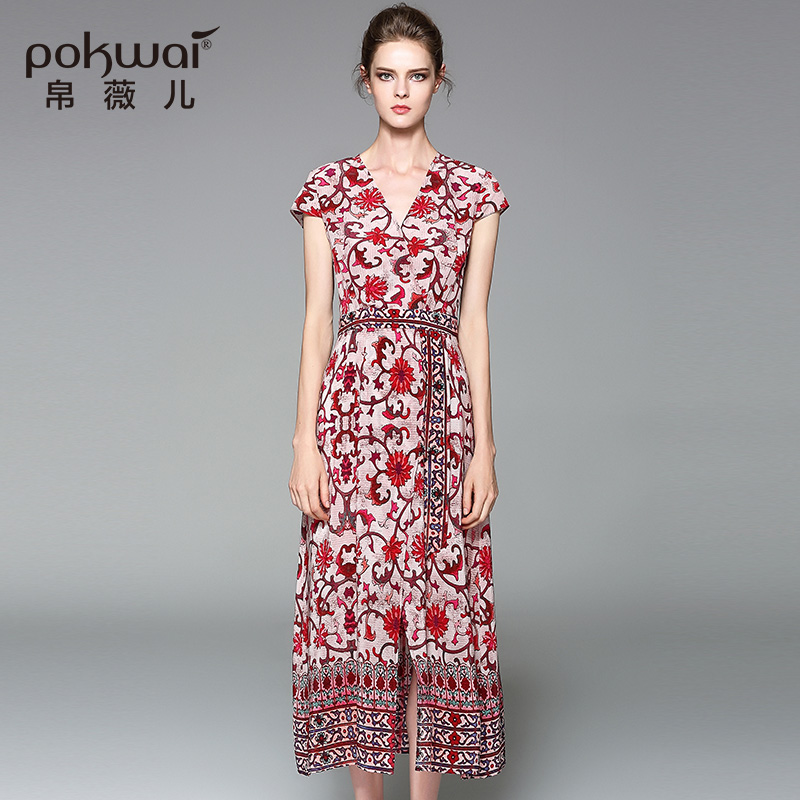 POKWAI Elegant Casual Summer Silk Dress Women Fashion High Quality 2017 New Sexy V-Neck Short Sleeve Zippers A-Line Dresses sexy knitted long sleeve deep v neck pack hips women dress fashion solid mini sheath summer dresses new 2017 casual vestido s xl