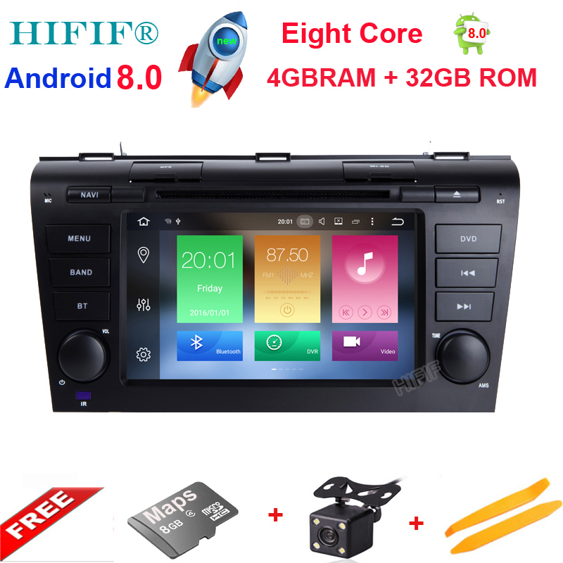IPS HD 1024*600 8 Core 32G ROM 7'' Android 8.0 Car DVD Player for <font><b>MAZDA</b></font> <font><b>3</b></font> 2004-2009 <font><b>GPS</b></font> Navigation Newest Radio +Free 8g <font><b>maps</b></font> image