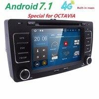 Frete grátis 2din DVD player DO CARRO para Octavia A5 VWskoda Rádio com wifi CANBUS Bluetooth ATV Android7.1 swc mapa livre 2G RAM SWC