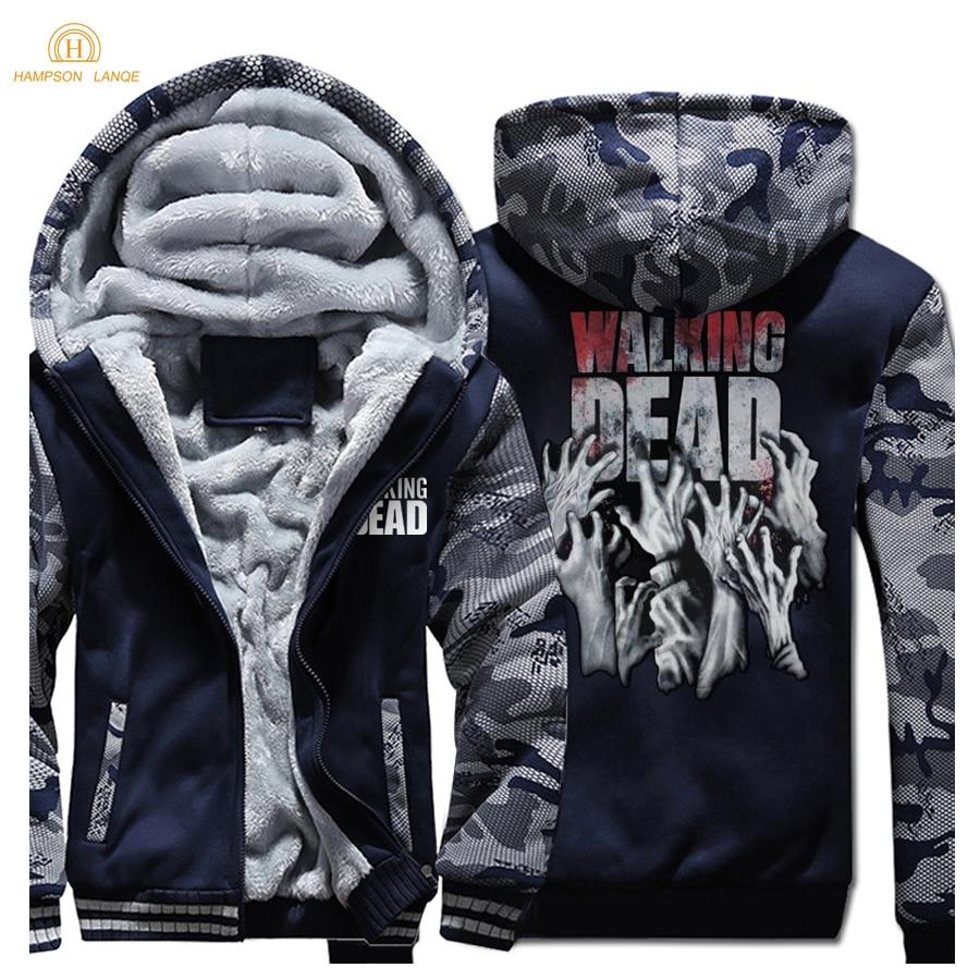 HAMPSON LANQE The Walking Dead Fashion pulls à capuche pour hommes 2019 nouveau hiver chaud polaire Slim Fit sweat hommes épais survêtement à capuche