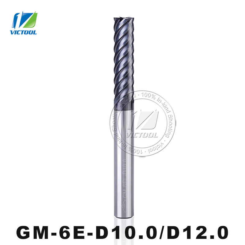 GM-6E-D10.0/D12.0 Cemented Carbide High Speed 6-Flute Flattened End Mills Straight Shank Milling Tools Machining Stainless Steel