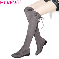 ESVEVA 2017 Over The Knee Boots Square Med Heel Women Boots Sexy Ladies Lace Up Stretch