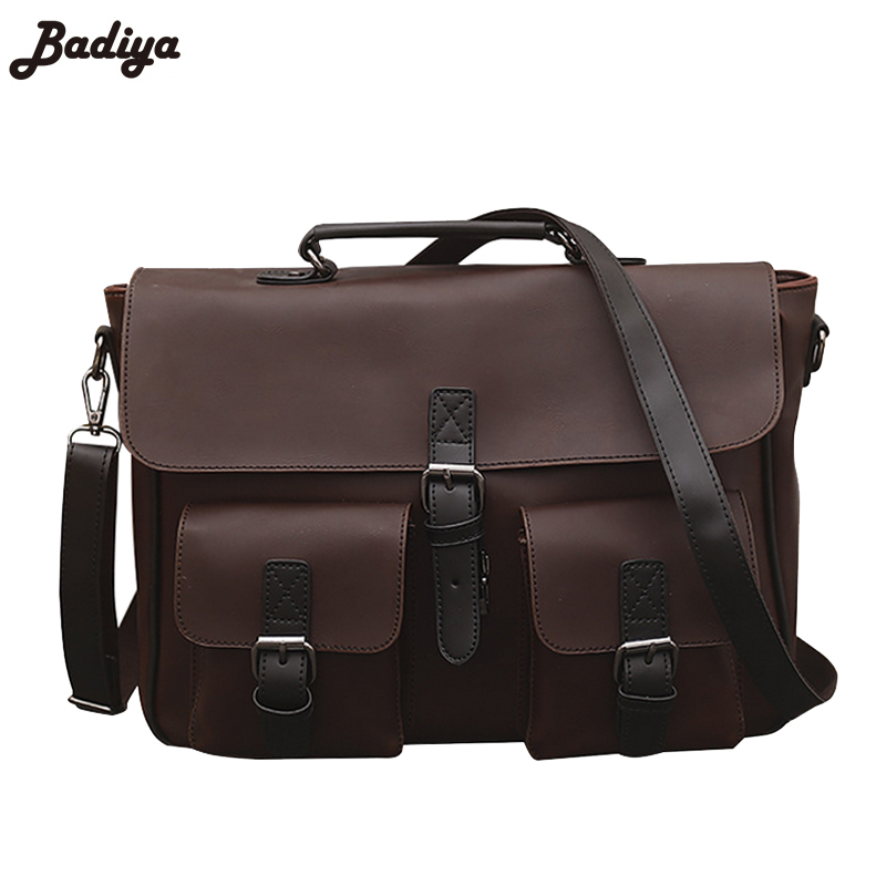 Vintage Men Brief Handbag Crazy Horse Leather Messenger Bag Casual Business Laptop Crossbody Shoulder Bags Male Briefcase Tote polo men shoulder bags famous brand casual business pu leather mens messenger bag vintage men s crossbody bag bolsa male handbag
