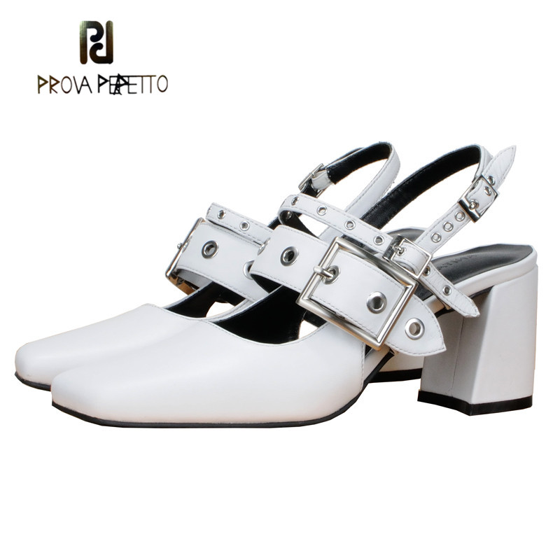 Prova Perfetto White Real Leather Women Shoe Fashion Metal Buckle Decoration 2018 Spring Single Shoe Square