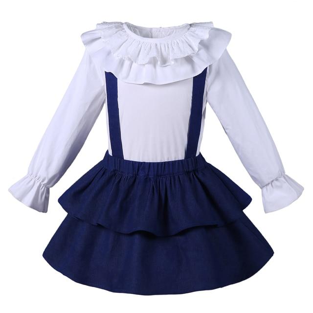 0e8d246dc Conjunto de Ropa para Niñas Pettigirl Top sólido de manga larga + falda de  la capa