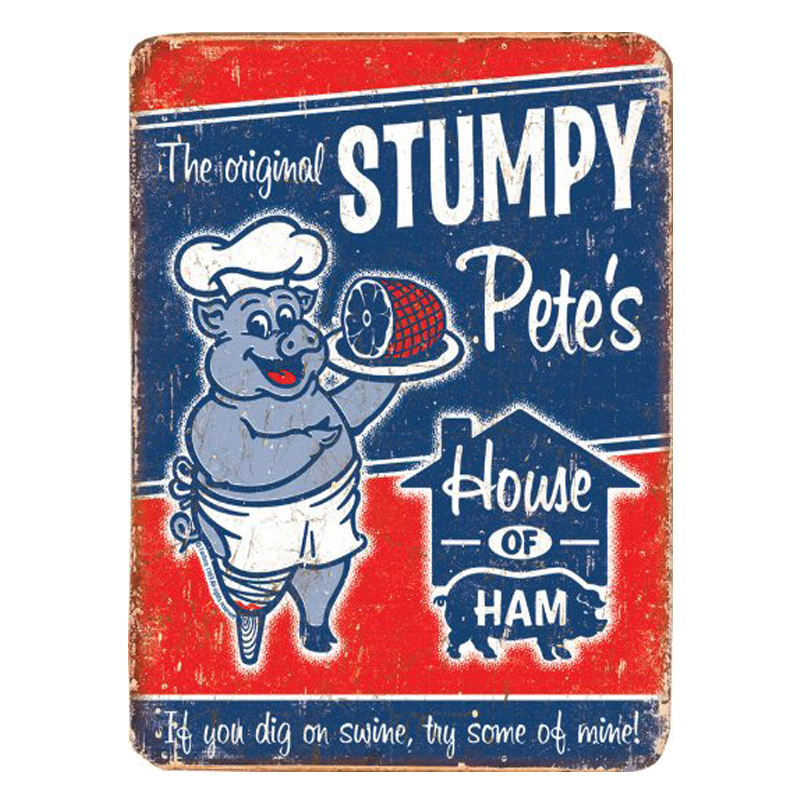 ZJY Vintage Home Decor Stumpy Pete's House of Ham Metal Tin Signs Tavern Shabby Chic Home  Shop Retro Art Poster Plaque Decor