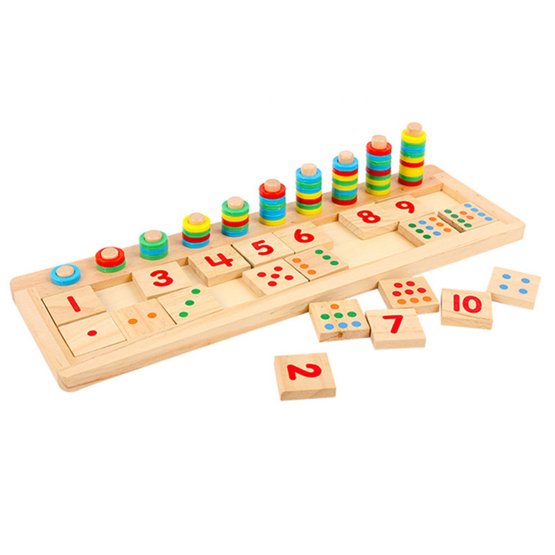 Baby Toys Montessori Educational Wooden Toys Teaching Logarithm Version Kids Wooden Building Blocks Toys Gift 1pc