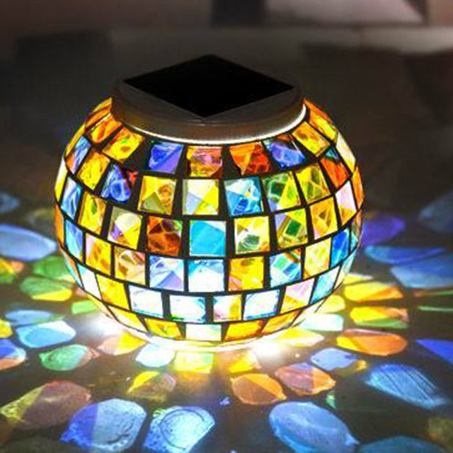 Laideyi mosaic glass ball led solar lights color changing outdoor laideyi mosaic glass ball led solar lights color changing outdoor yard garden balcony waterproof light indoor aloadofball Gallery