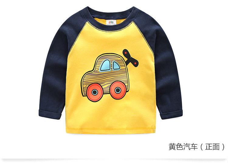 2018 Spring Autumn For 2-9 10 Years Children Cotton Striped Patchwork Cartoon Car Bus Truck Baby Kids Boys Long Sleeve T Shirts (18)