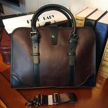 ETONWEAG New 2017 men famous brands cow leather vintage document shoulder bags brown hasp multi-functional laptop handbags