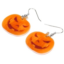 Halloween Smiling Pumpkin Shaped Drop Earrings