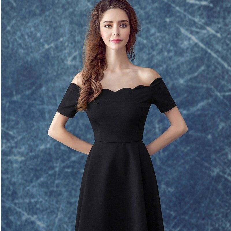 1ac70f8cce7 Ruthéshen Simple petites robes de bal noires pas cher épaule dénudée drapée  dames robe de soirée de Cocktail formelle 2018 nouveau dans Robes de bal de  ...