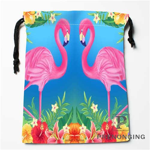 Custom Flamingo Drawstring Bags Printing Fashion Travel Storage Mini Pouch Swim Hiking Toy Bag Size 18x22cm