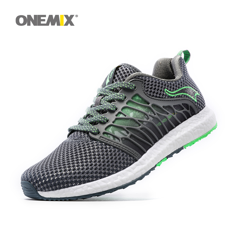 ONEMIX running shoes for men breathable gauze mesh shoes light cool sneakers for outdoor lace-up shoes walking jogging sneakers mens running shoes mesh fly weave light lace up man trainers outdoor air walking sports shoes breathable soft jogging sneakers page 1