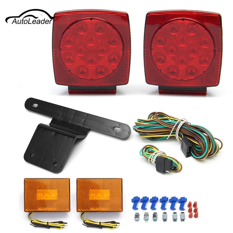Car LED Stop Light Side Light Turn Tail Marker Bracket&Harness Submersible Truck Trailer SQ LED Light kit yamaha led trailer light kit