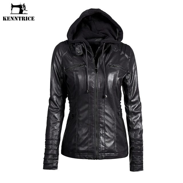 Aliexpress.com : Buy KENNTRICE Hoodie Leather Jacket Women Black ...