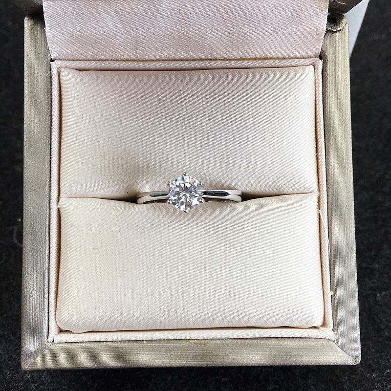 Sterling Silver 925 Round 9mm Solitaire Six Prongs Semi Mount Engagement Ring