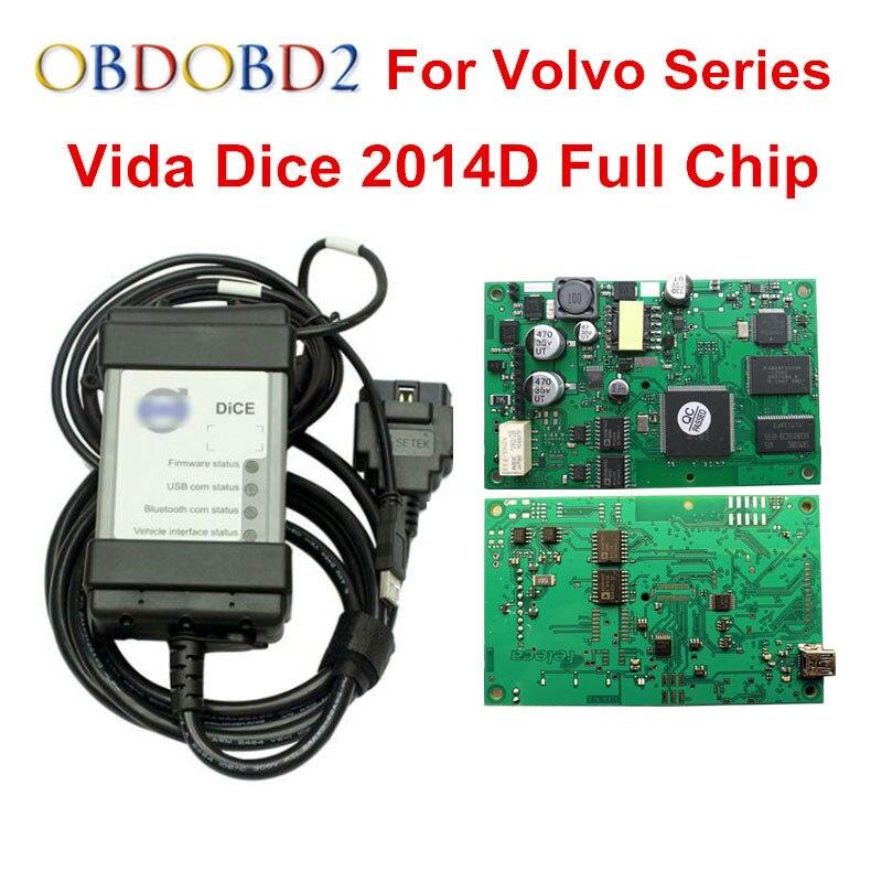 Мульти-функция для Volvo Vida Dice Pro диагностический инструмент 2014D с многоязычным полным чипом зеленый PCB для Volvo Dice Vida