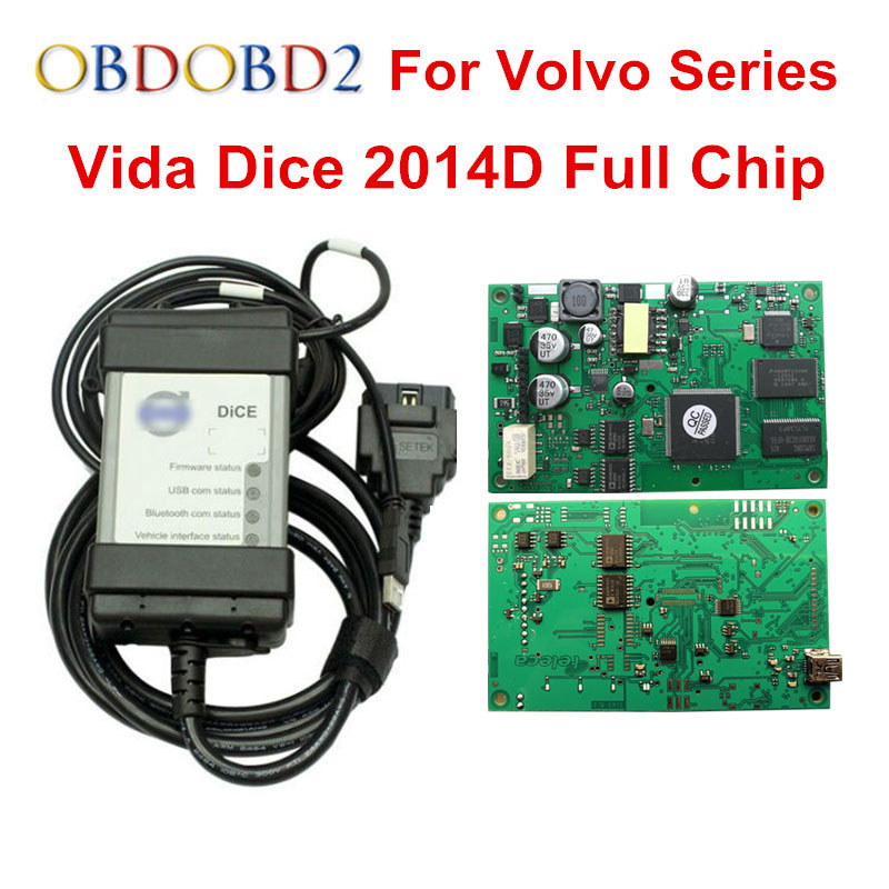 Multi-Function For Volvo Vida Dice Pro Diagnostic Tool 2014D With Multi-language Full Chip Green PCB For Volvo Dice Vida with bluetooth japen nec relay latest new vci vd tcs cdp pro bt obd2 obdii obd with best pcb chip green single board