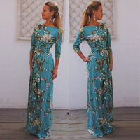 2016 Boho Dress Plus Size Spring Autumn Dress Long Maxi Dress Robe Vintage Casual Women Flowers