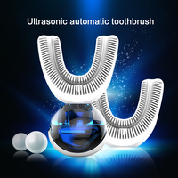 New 360 Degrees Automatic Sonic Electric Toothbrush USB Rechargeable Ultrasonic U Shape Toothbrush Double Heads 15