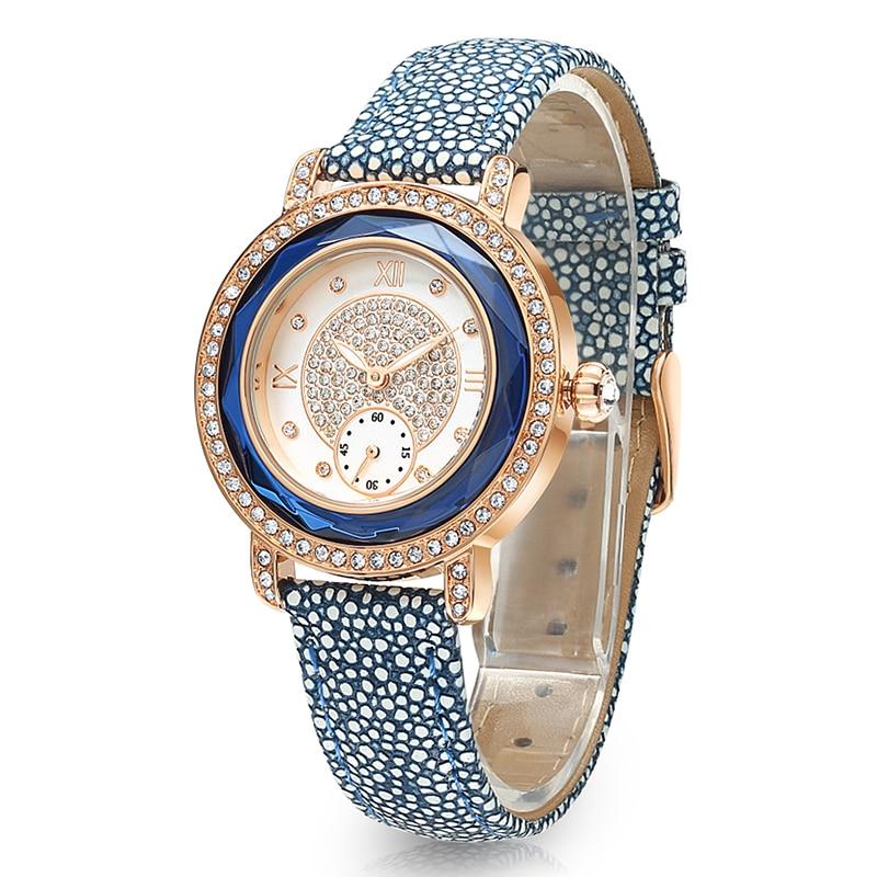 16e0fd2fb4d 2016 TIME100 Relógios Femininos Cinta de Couro Diamante Noviado Vestido  Dual Discagem Relógios de Pulso de Quartzo para as Senhoras Único Clock em  Mulheres ...