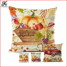 Autumn Pumpkin Harvest Watercolor Home Decorative Pillow Case Cotton Linen Thanksgiving Celebration Sofa Cushion Cover 45x45cm good mood watercolor circle with cross cotton and linen pillow case(without pillow inner)