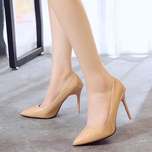 2019 HOT Women Shoes Pointed Toe Pumps Patent Leather Dress  High Heels Boat Shoes Wedding Shoes Zapatos Mujer Blue White 37