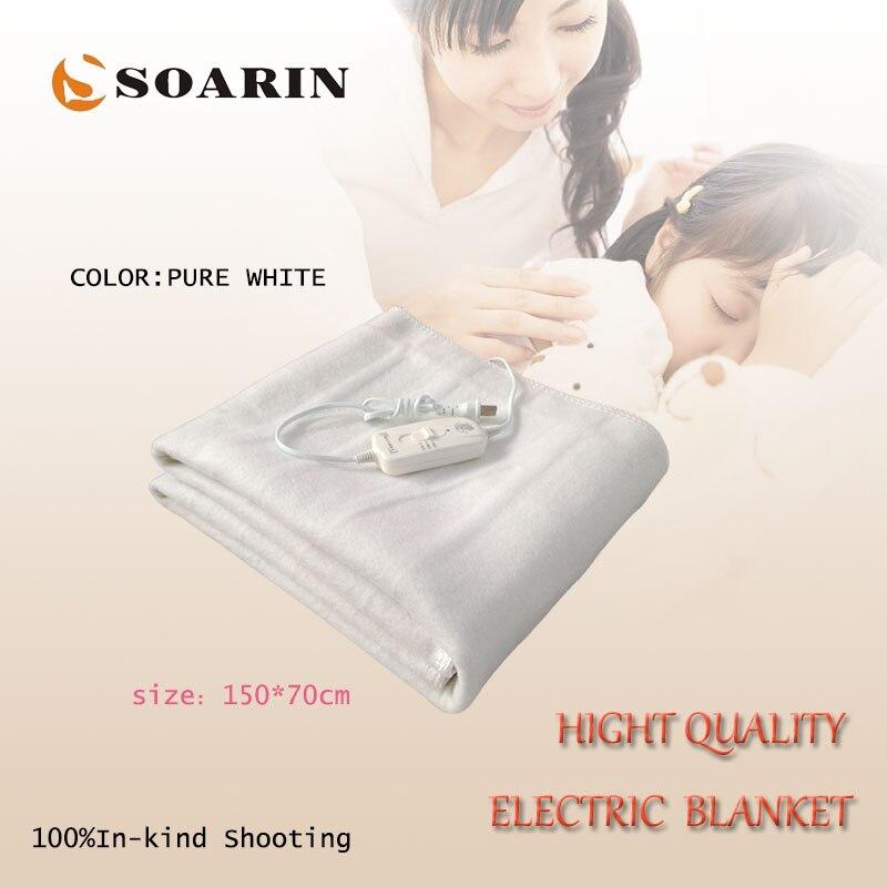 SOARIN Électrique Couverture Synthétique Fiber De Chauffage Électrique Couverture 150X70 cm Couverture Chauffante 220 v Manta Electrica Pur Blanc couverture