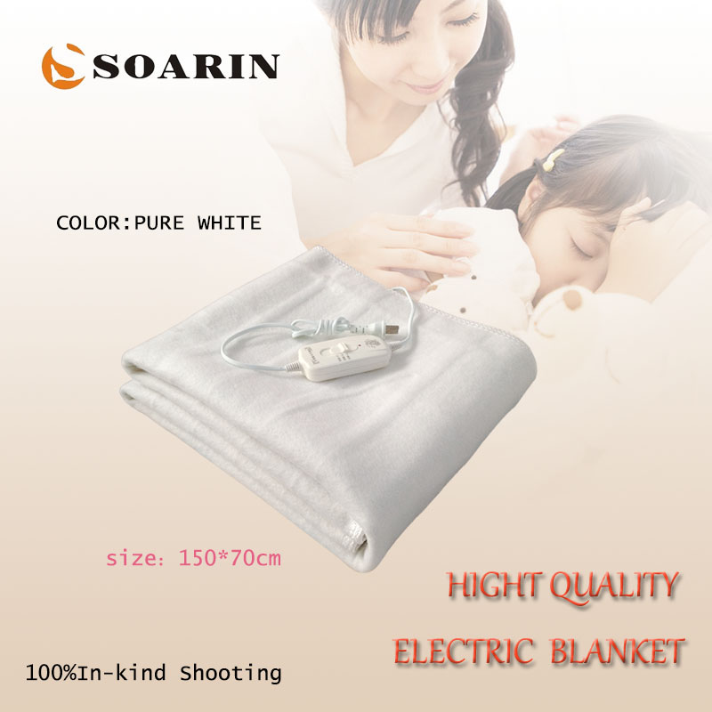 SOARIN Electric Blanket Synthetic Fiber Electric Heating Blanket 150X70cm Heated Blanket 220v Manta Electrica Pure White Blanket